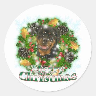 Merry Christmas Rottweiler Classic Round Sticker