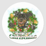 Merry Christmas Rottweiler Round Stickers