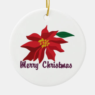 Merry Christmas Round Ceramic Decoration