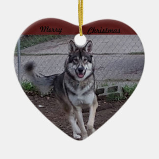 Merry Christmas running wolf Ceramic Heart Decoration