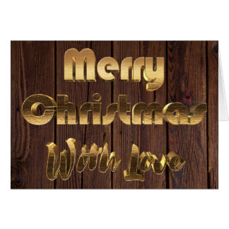Merry Christmas Rustic Brown Wooden Fence Gold Card