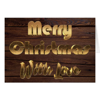 Merry Christmas Rustic Brown Wooden Fence Photo Card