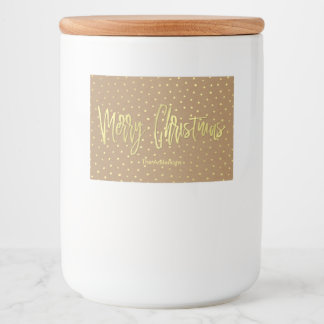 Merry Christmas Rustic Gold Food Label