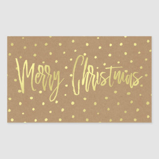 Merry Christmas Rustic Gold Rectangular Sticker