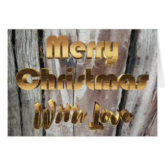 Merry Christmas Rustic Gray Wooden Fence Card