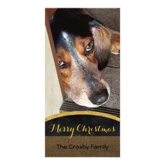 Merry Christmas Rustic   Pet Photo DIY Beagle Dog Card