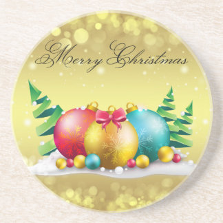 Merry Christmas Sandstone Drink Coaster