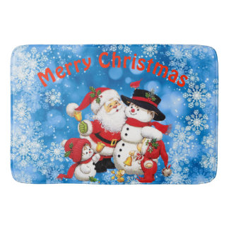 Merry Christmas Santa And Friends Bath Mat