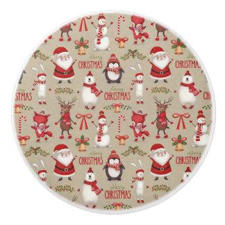 Merry Christmas Santa And Friends Ceramic Knob