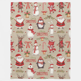 Merry Christmas Santa And Friends Fleece Blanket