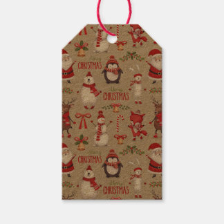 Merry Christmas Santa And Friends Gift Tags