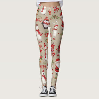 Merry Christmas Santa And Friends Leggings