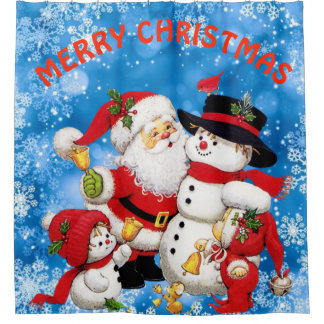 Merry Christmas Santa And Friends Shower Curtain