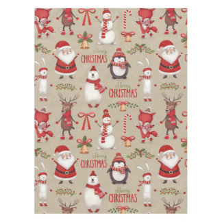 Merry Christmas Santa And Friends Tablecloth