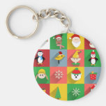 Merry Christmas, Santa and Helpers Basic Round Button Key Ring