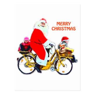 Merry Christmas Santa and Kids Postcard