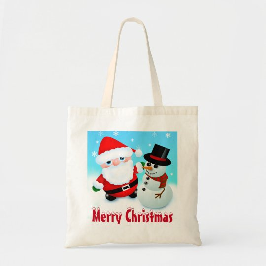 Merry Christmas, Santa and Snowman Tote Bag