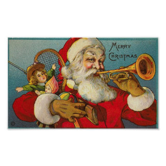 Merry Christmas Santa and Toys Print