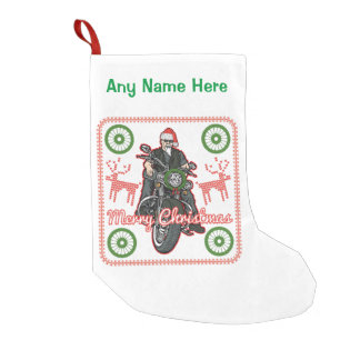 Merry Christmas Santa Biker Motorcycle Holiday Small Christmas Stocking