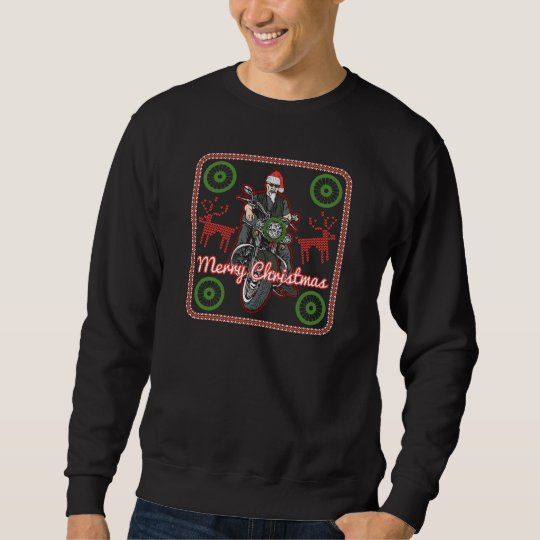 Merry Christmas Santa Biker Motorcycle Holiday Sweatshirt