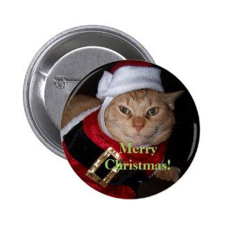Merry Christmas Santa Cat Button