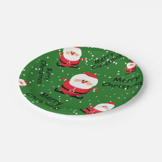Merry Christmas Santa Claus 7 Inch Paper Plate