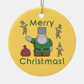 Merry Christmas Santa Claus and Elves Round Ceramic Decoration
