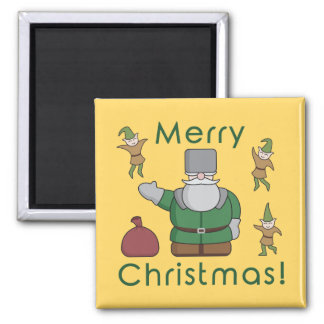 Merry Christmas Santa Claus and Elves Square Magnet
