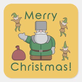 Merry Christmas Santa Claus and Elves Square Sticker