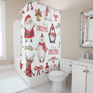 Merry Christmas Santa Claus And Friends Shower Curtain
