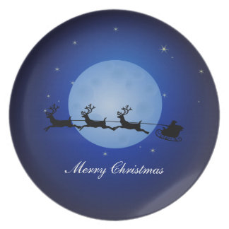 Merry Christmas Santa Claus at Night Party Plates