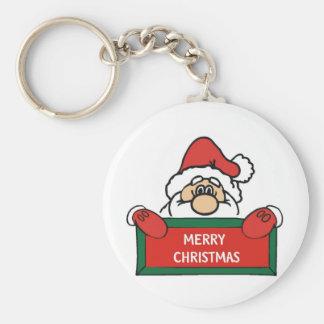 Merry Christmas Santa Claus Basic Round Button Key Ring
