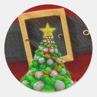 Merry Christmas Santa Claus Belt Round Sticker
