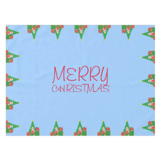 Merry Christmas Santa Claus Blue Holiday Tablecloth