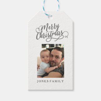 Merry Christmas Santa Claus Family Photo Picture Gift Tags