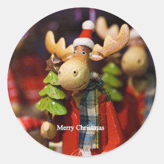 Merry Christmas Santa Claus Moose Sticker