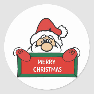 Merry Christmas Santa Claus Round Sticker