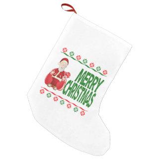 Merry Christmas Santa Claus Snowflake Stocking Small Christmas Stocking
