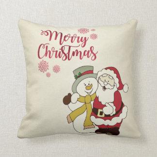 Merry Christmas,Santa Claus,Snowman Cushion