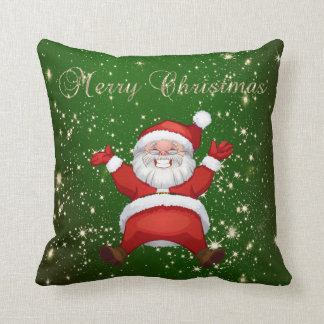 Merry Christmas,Santa Claus,Sparkles,Green Cushion