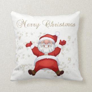 Merry Christmas,Santa Claus,Sparkles,White Cushion