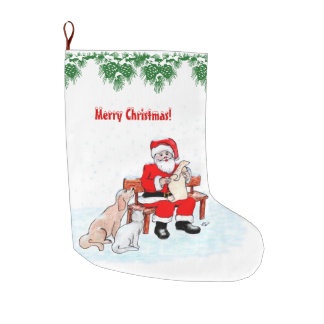 Merry Christmas - Santa Claus with Cat and Dog