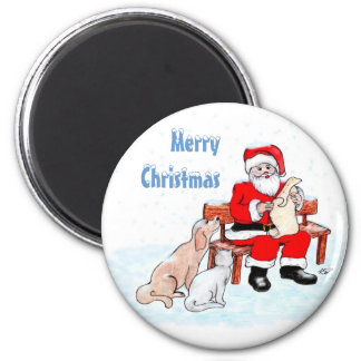 Merry Christmas - Santa Claus with Cat and Dog 6 Cm Round Magnet