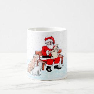Merry Christmas - Santa Claus with Cat and Dog Basic White Mug