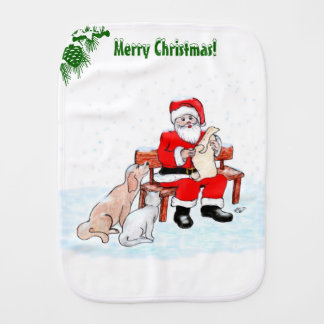 Merry Christmas - Santa Claus with Cat and Dog Burp Cloth