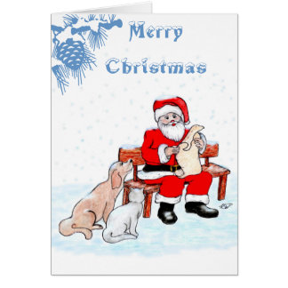 Merry Christmas - Santa Claus with Cat and Dog Card