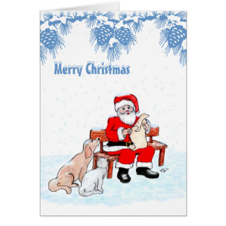 Merry Christmas - Santa Claus with Cat and Dog Stationery Note Card