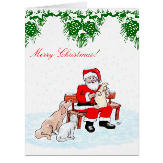 Merry Christmas - Santa Claus with Cat and Dog Large Greeting Card