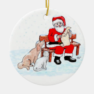 Merry Christmas - Santa Claus with Cat and Dog Christmas Ornament