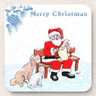 Merry Christmas - Santa Claus with Cat and Dog Beverage Coasters